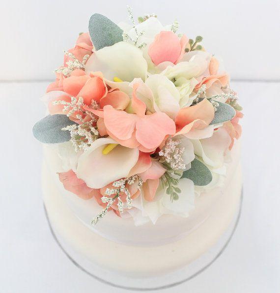 Silk flower wedding cake toppers uk