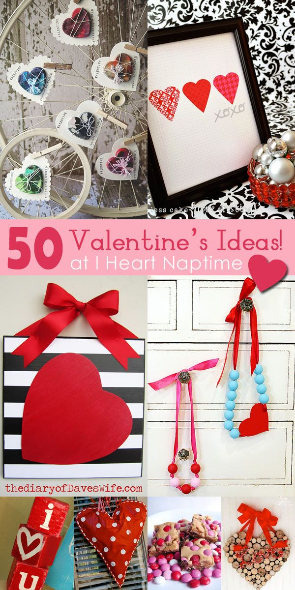 50 AMAZING Valentine Crafts and Food Ideas on ihearntaptime.net ...so many great ideas!