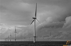 Black and white picture windenergy