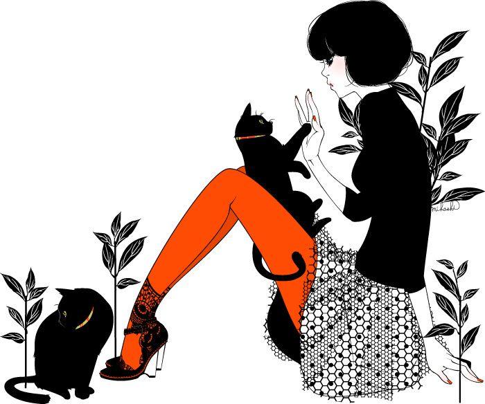 : Black Cat Illustrations, Animal Art, Black White, Art Show, Girls Outfits, Illustrations Girls With Cat, Art Illustrations Design, Blackcat, Cat Lady