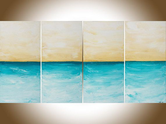 Turquoise Beige Seascape Painting Large Wall Art Home Office Wall Decor  Painting On Canvas Shabby Chic  Part 89