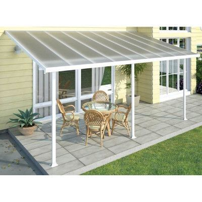 Palram Feria 24ft. W x 10ft. D Patio Cover Awning Color: White