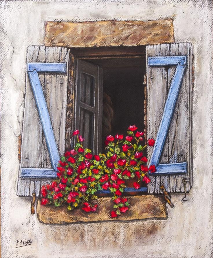 Pilar S. Robles. Geranios en la ventana. Pastel. 39x31 s/marco