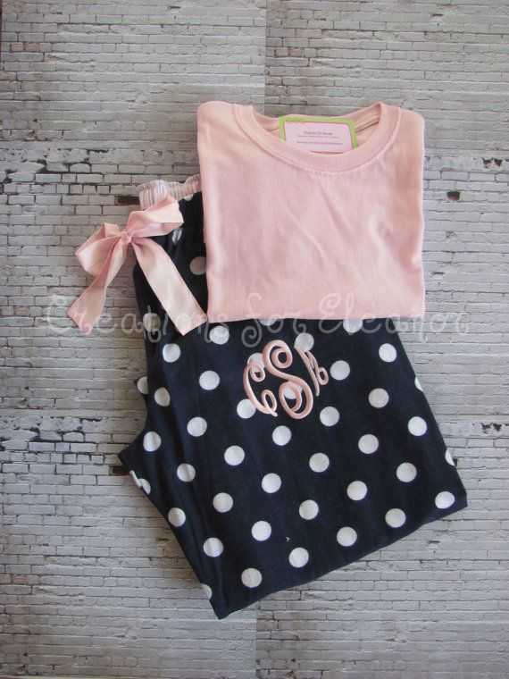 """Monogrammed Pajama Pants with Tshirt by creationsforeleanor, $47.50, size Medium with letter """"A"""""""