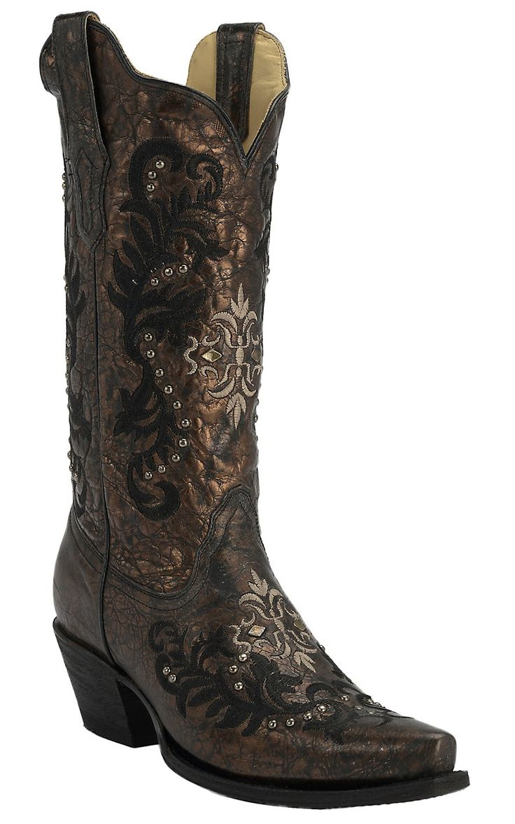 Corral® Women's Bronze/Black w/Cream & Black Embroidery & Studs Snip Toe Western Boots
