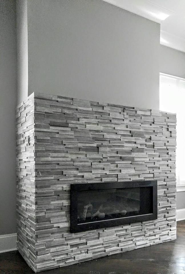 Marble Stacked Stone Honed Finish Modern Fireplace Fireplace