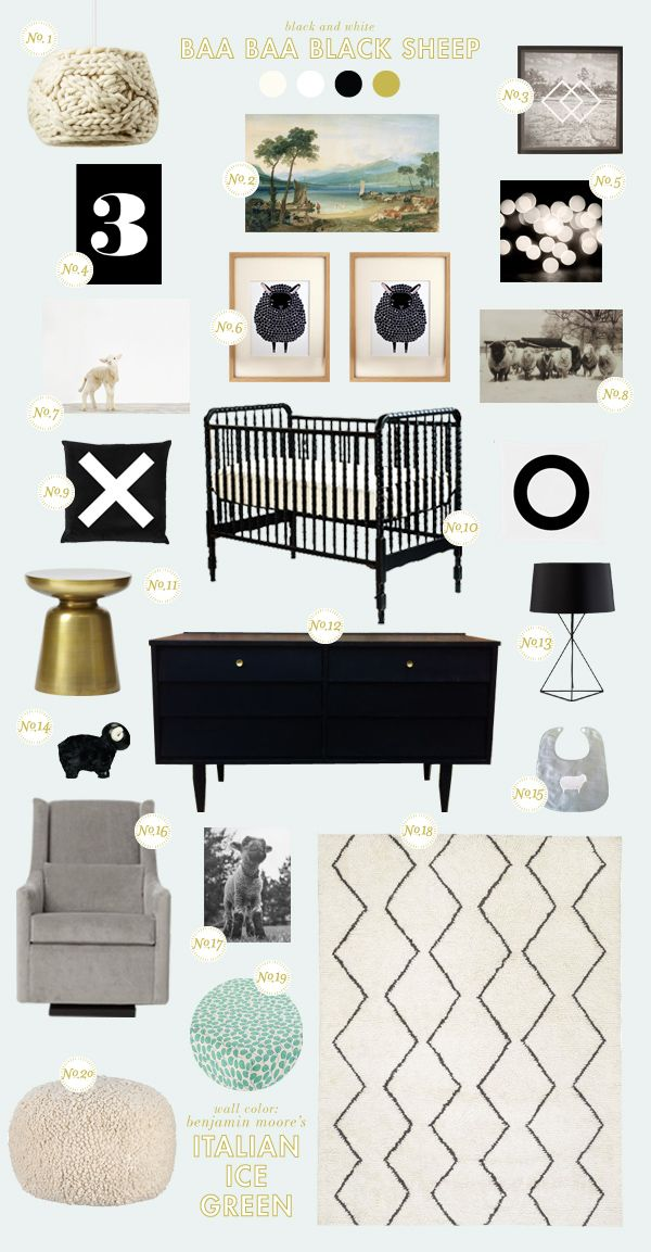 We love this Baa Baa Black Sheep nursery that Joni Lay created for Style Spotters! See the full post here: http://www.bhg.com/blogs/better-homes-and-gardens-style-blog/2013/03/13/get-the-look-baa-baa-black-sheep/?socsrc=bhgpin031513blacksheep