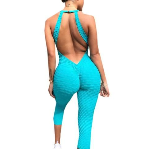 49c8f5eb882 2018 Backless Rompers Womens Jumpsuit Sexy Club Outfits For Woman Fashion  Bodycon V Neck Green Jumpsuits Long Pants Overalls