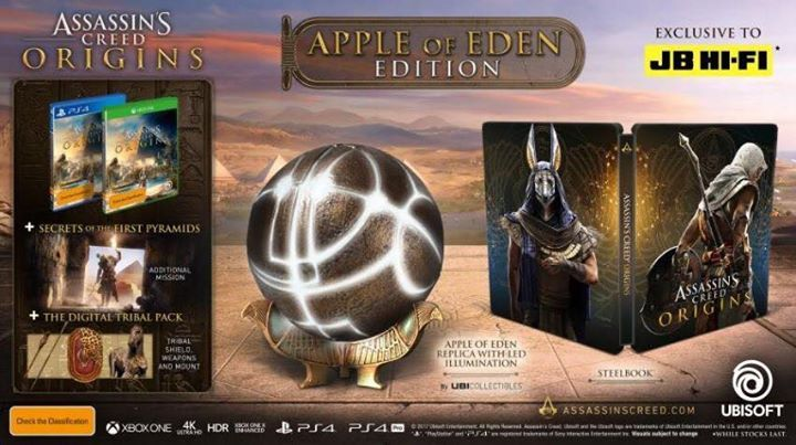 Apple of Eden Edition of Assassin's Creed Origins, from the JB Hi-Fi website.  The edition costs $149, and releases October 27th.  https://www.jbhifi.com.au/games-consoles/platforms/xbox-one/assassins-creed-origins-apple-of-eden-edition/464164/  #AssassinsCreedUniverse #AssassinsMarket #GeekVerse #assassinscreed #assassins  #assassin #ac #assassinscreeed2 #assassinscreedbrotherhood #assassinscreedrevelations #assassinscreed3 #assassinscreedblackflag #assassinscreedrogue #assassinscreedunity…