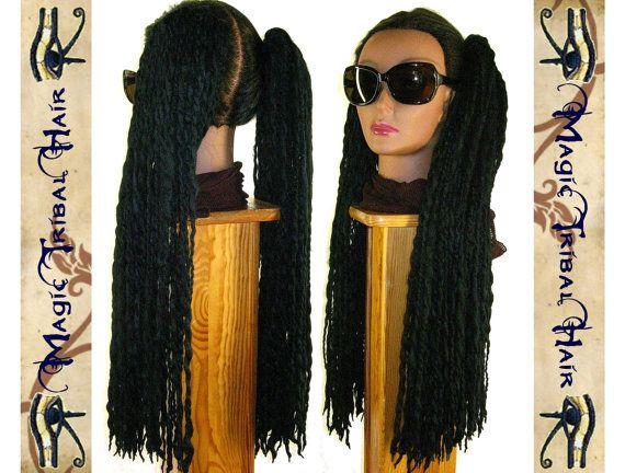 2 ponytails black DREAD FALLS 140 locs 24 by MagicTribalHair