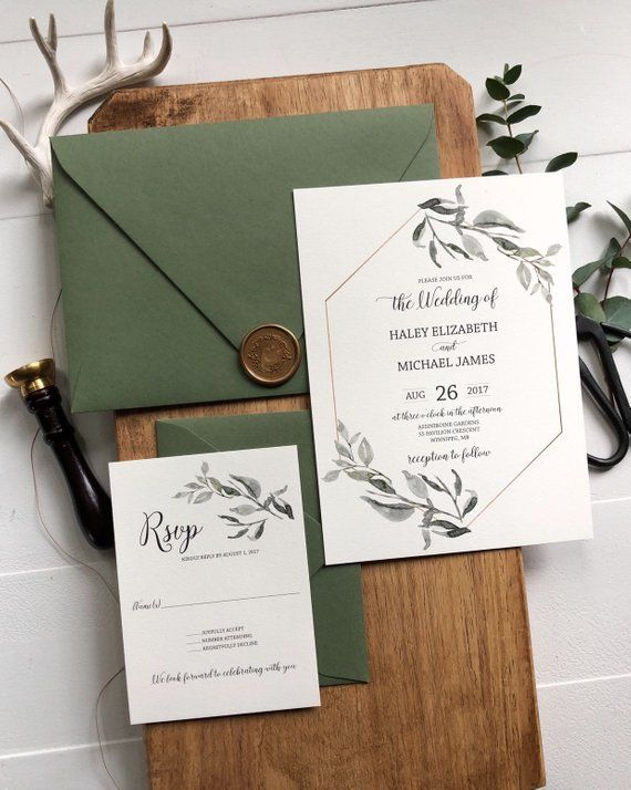 Wedding Invitation with Greenery and Gold Geometric , Rustic Wedding Invitation