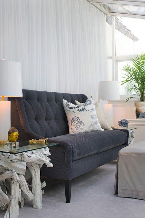 Tiffany Eastman Interiors - tufted sofa - white sheers