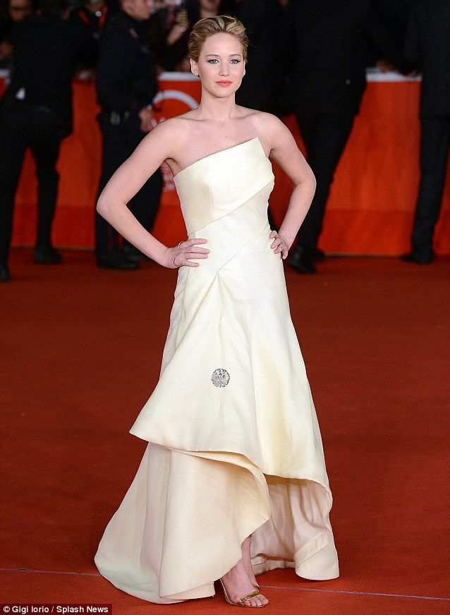 Tasty attire: Jennifer Lawrence wears a lemon Dior gown to the Hunger Games: Catching Fire premiere in Rome