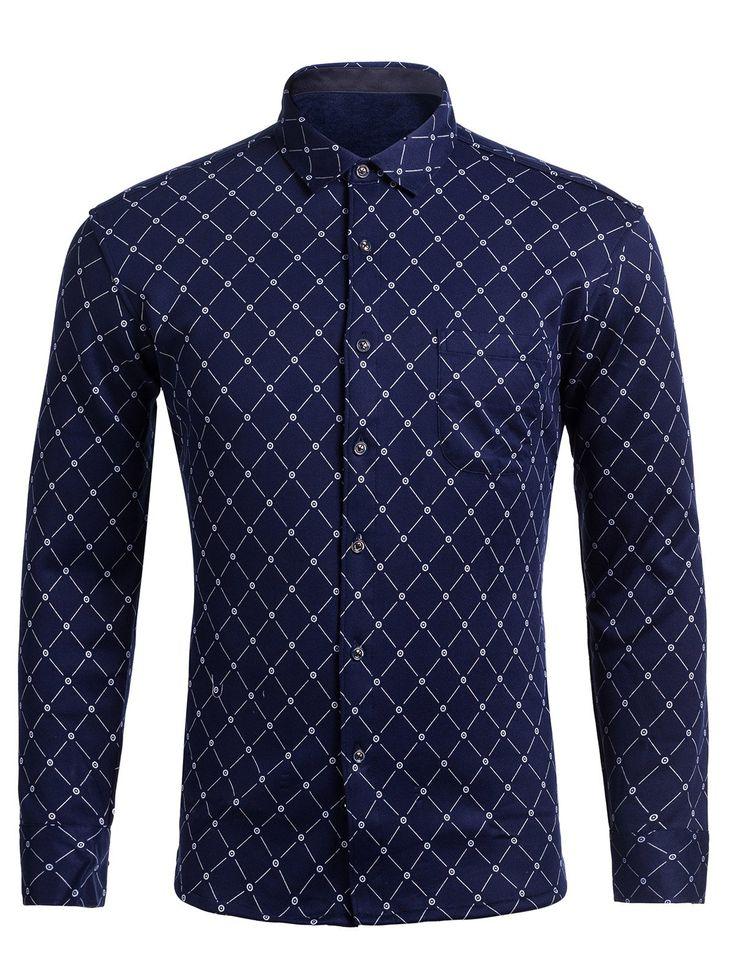 $11.63 Long Sleeve Rhombus Pattern camisa do bolso