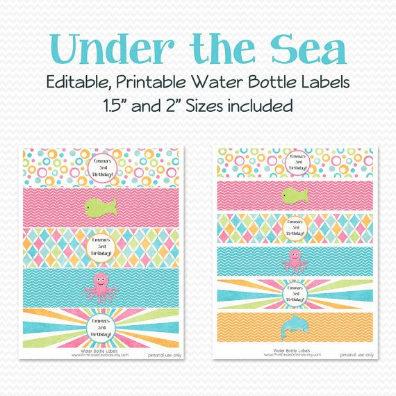 Water Bottle Label, Under the Sea Birthday Party Decor, Bridal Shower Decoration, Favor, Summer Swim Party - Editable, Printable, Instant