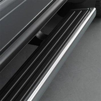 2016 #Traverse Assist Steps, Chrome with Slate Step Pad: These stylish Assist Steps make it easier to get in and out of your Traverse. Constructed of high-strength aluminum, these 6-inch chrome steps are topped with full-length black traction pads.