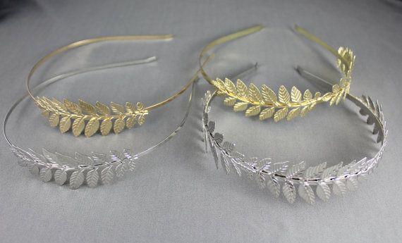Gold Silver Laurel Leaf headband crown Leaves by FunFashionAccess
