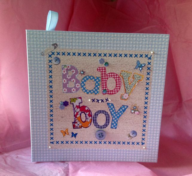 New Baby Boy,Greeting Card, Printed Applique Design,Handfinished Card £1.95
