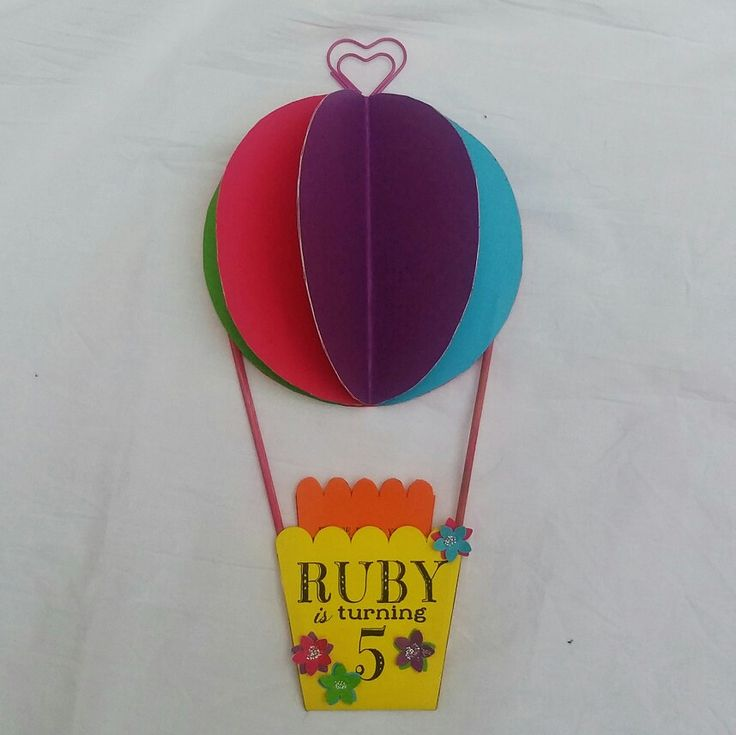 Invite with magnet on the back for the fridge - rainbow hot air balloon party