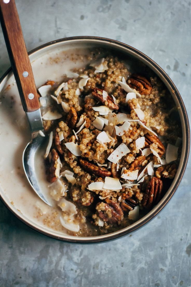 quinoa porridge with pecans and coconut flakes