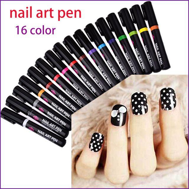 16 Цветов Nail Art Pen для 3D Nail Art DIY Украшения Лак Для ногтей Перо Набор 3D Дизайн Ногтей Красота Инструменты, Краски, Ручки E10080