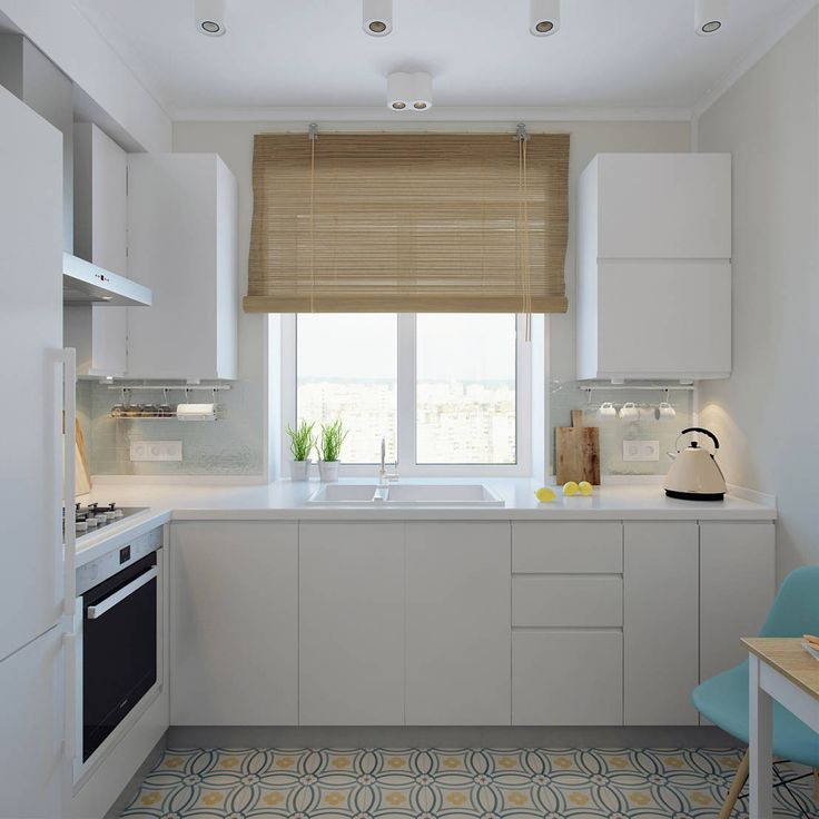 Small, simple, modern eat-in kitchen with white cupboards and benchtops, vintage style appliances and pattern flooring. By: Ekaterina Donde Design