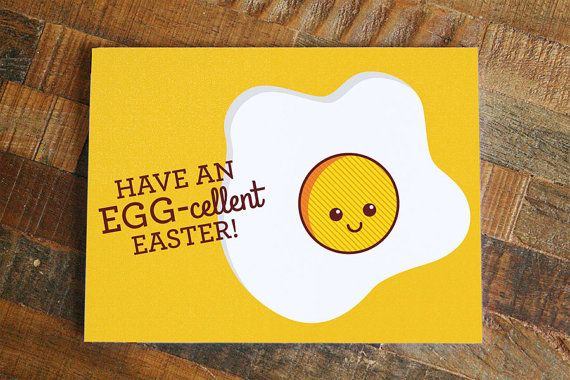 Funny Easter Card Have an Egg-cellent Easter  Pun by TinyBeeCards