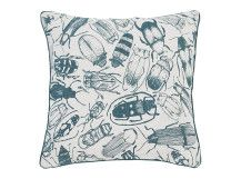 Abella Printed Insect Cushion 45 x 45cm, Soft Teal designed by Alex Pook-Leary