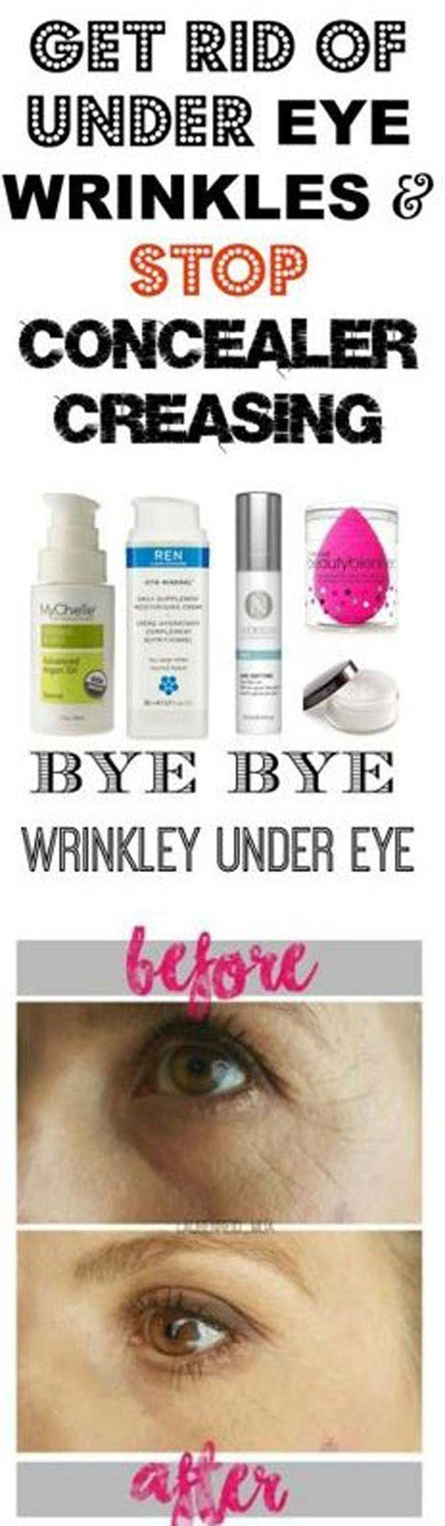 Makeup Tips That Make Wrinkles Vanish - Get Rid Of Under Eye Wrinkles And Stop Concealer Creasing - Make Up and Anti Aging Skin Care Home Remedies and Essential Oils - How To Get Faces To Look Years Younger - Skincare Products For Women to Combat Crows Ar #homemadewrinklecreamshowtomake #homemadewrinklecreamsbeauty