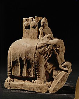 This mid 2nd century BCE terracotta figurine comes from Myrina on the isle of Lemnos, Greece, and it's a detailed scene of a war elephant trampling on a Galatian with his typically Celtic oval shield. This scene is from the so called 'Elephant battle' of Antiochos I of the Seleucid Empire. The use of elephants in battle was a common site on Hellenistic battlefields in this period and this practice originated from Alexander the Great's encounter of them in India at the battle of the Hydaspes.