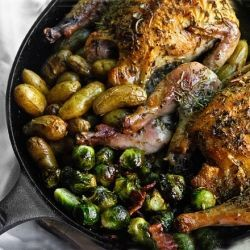 Skillet Roasted Game Hens by mymansbelly: Break out the cast iron skillet for the easiest and tastiest one pot meals. It's dinner for two in an hour.