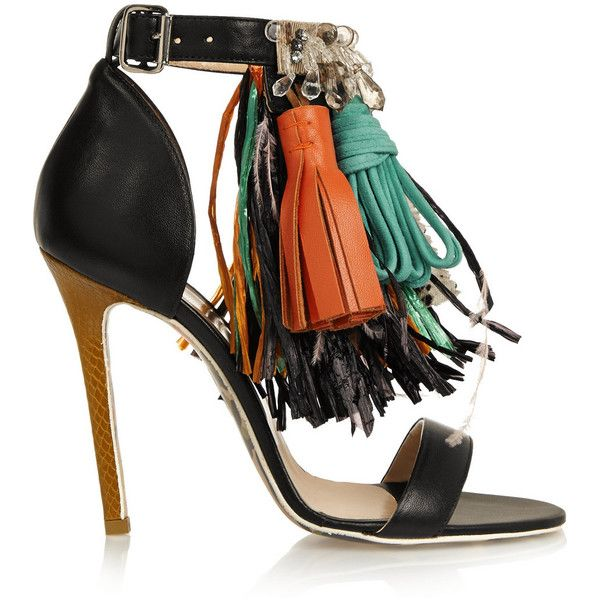 MSGM Embellished leather sandals (25.220 RUB) ❤ liked on Polyvore featuring shoes, sandals, heels, обувь, black, strappy heel sandals, embellished sandals, fringe heel sandals, high heel shoes and black high heel sandals