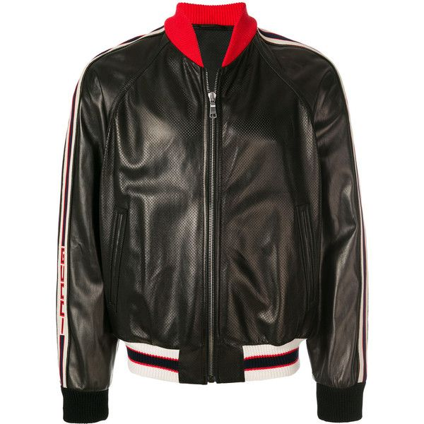 Gucci stripe trim bomber jacket ($4,600) ❤ liked on Polyvore featuring men's fashion, men's clothing, men's outerwear, men's jackets, black, mens leather sleeve jacket, mens leather flight jacket, mens real leather jackets, gucci mens jacket and mens leather bomber jacket