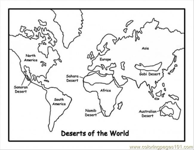 Map Of Deserts Coloring Page