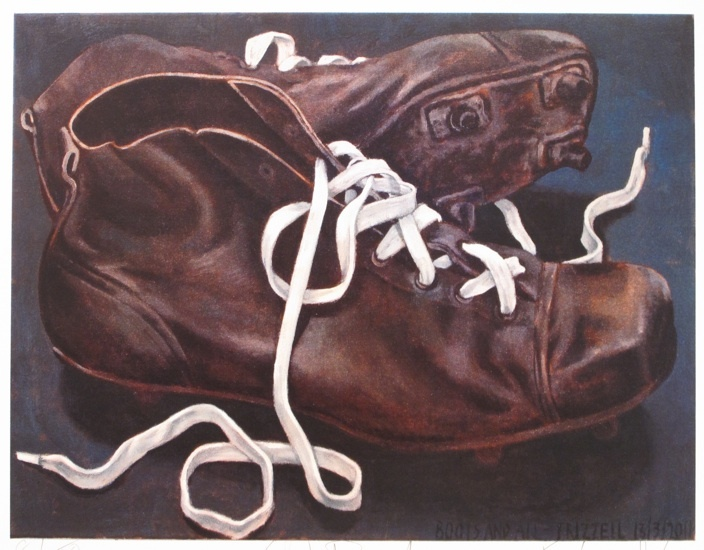 Dick Frizzell, Old Boots, screenprint on 615 x 790 mm paper, from an edition of 300, 2011.: Dick Frizzel, Nz Artists, Old Boots, Artists Inspiration, Old Shoes, Decor Artworks, 1 Art, Shoes Art, New Shoes