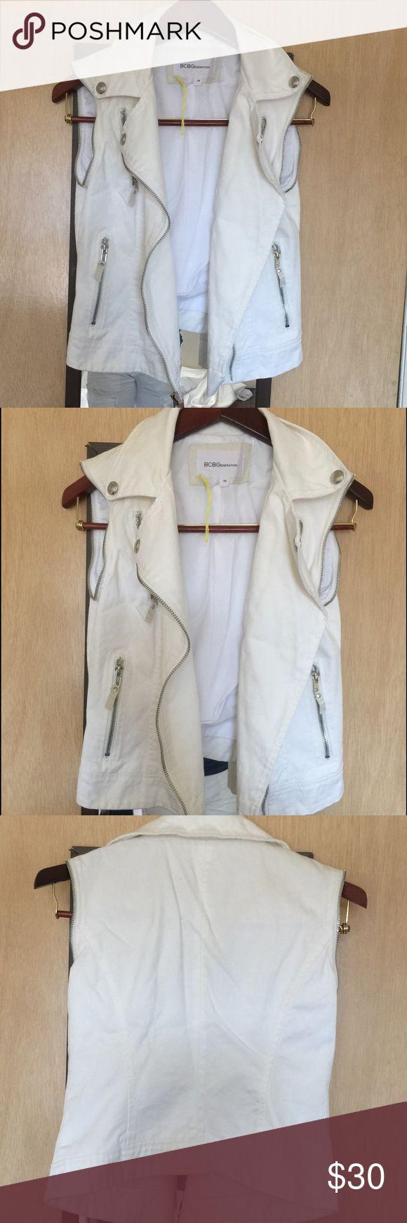 BCBG off white jean vest Jean best brand new BCBGeneration Jackets & Coats Vests