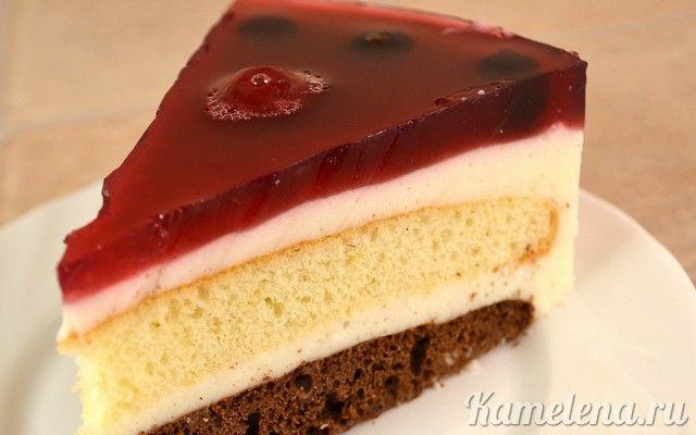 Йогуртовый низкокалорийный торт с вишневым желе