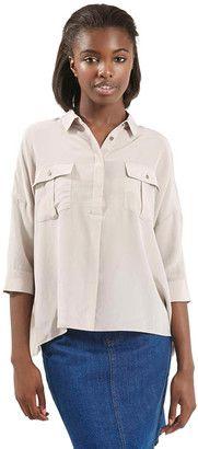 TOPSHOP Military Silk Shirt (Juniors) - Shop for women's Shirt - LIGHT-GREY Shirt