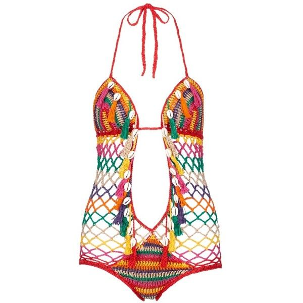 Anna Kosturova 'Aztec' seashell stripe crochet monokini swimsuit (7.246.200 VND) ❤ liked on Polyvore featuring swimwear, one-piece swimsuits, one piece swimsuits, aztec one piece swimsuit, crochet one piece swimsuit, swim suits and plunge one piece swimsuits
