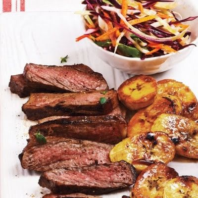 Caribbean Steak With [Grilled Plantains] and Coleslaw [use these plantains with jerked pork sheet pan supper]