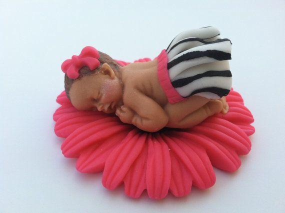 fondant baby girl on edible flower cake topper zebra fondant baby on Etsy, $16.00