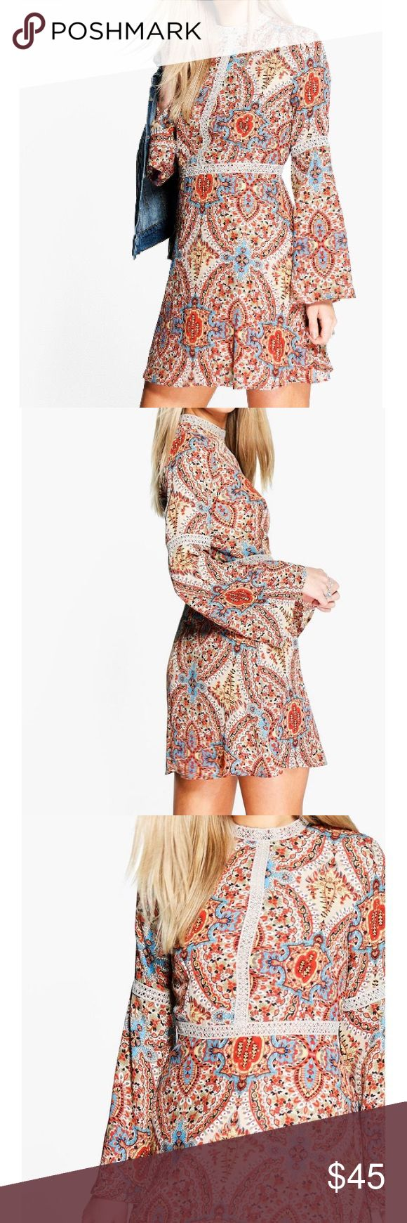 🆕 Pasliey print long sleeve, high neck dress Size: US 10  Color: Multi color   Mini dress  📍Wrap dress (does not have zippers) 📍Does not have much stretch  📍Worn once  Pet and smoke free home  Ships same or next business day Dresses Mini
