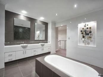 upstairs - not in the dark colour as too close to ensuite but idea of one wall and bath tiles and floor being the colour