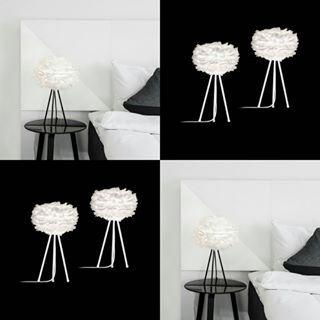 Eos mini på tripod. En perfekt sängbordslampa för dig som gillar dun i sovrummet  Nu finns det ett kit i shopen som innehåller 2 st Eos mini och 2 st Tripod för 1899:- Välj mellan vit eller svart Tripod. Tips kolla in våra härliga och mycket populära hotellkuddar från Hoie @hoieofscandinavia  www.globalxdesign.com  #lampor #belysning #fjäderlampa #dunlampa #vitalighting #eos #eoslampa #hotellkuddar #dunkuddar