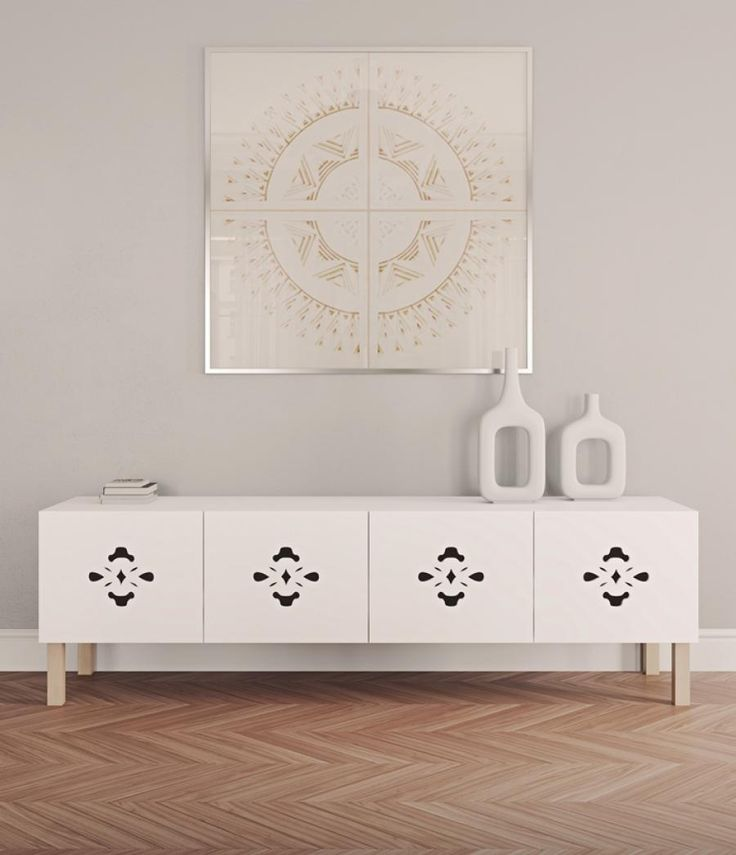 NEW REDUCED PRICE  Temahome, Scatola Decorated Low Pure White Sideboard