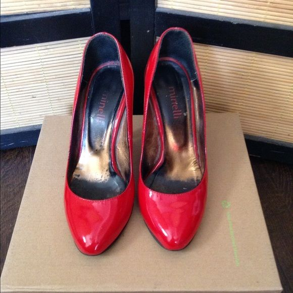 DELICIOUS HIGH HEELS RED Red hot high heels, sexy with just about anything, in good condition 6/10, usual wear on bottom of heels from use. Up for sale or trade . Trade value higher. Minelli Shoes Heels