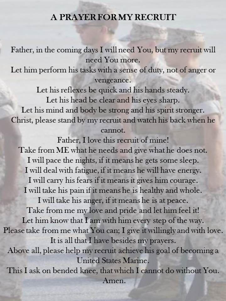 Marine mom prayer. Prayer for My Recruit. USMC. USMC mom. Parris Island. Marine Corps Crucible. Crucible. Proud Marine mom.