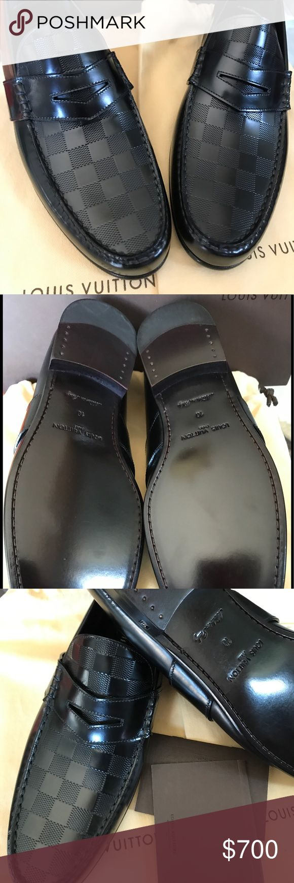 Louis Vuitton Men's Leather Damier Black Loafer Size US 10. Made in Italy. Sole attached to the upper with Blake stitching. Good as new. With original box and bag. Louis Vuitton Shoes Loafers & Slip-Ons