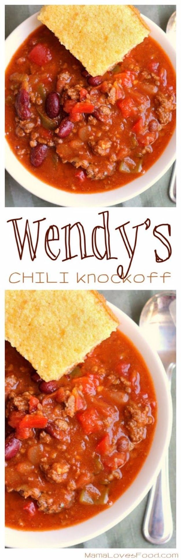 50 More Best Copycat Recipes From Top Restaurants - Wendy's Chili Knock Off - Awesome Recipe Knockoffs and Recipe Ideas from Chipotle Restaurant, Starbucks, Olive Garden, Cinabbon, Cracker Barrel, Taco Bell, Cheesecake Factory, KFC, Mc Donalds, Red Lobster, Panda Express http://diyjoy.com/best-copycat-restaurant-recipes
