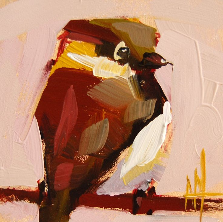 Little Sparrow no. 5 original bird oil painting by Angela Moulton #sparrow #art #prattcreekart